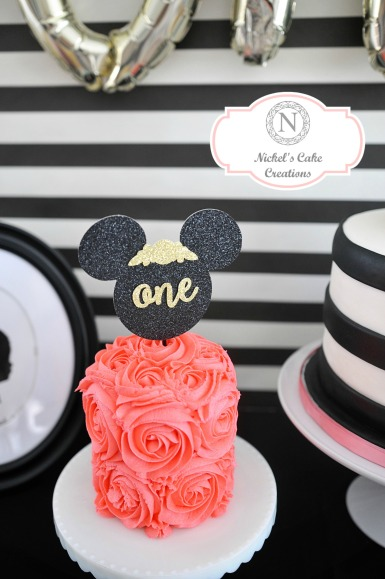 Floral Minnie Mouse Smash Cake - Rosettes. Party by Smash Cake SoCal Event Planners. Photo credit to Tiffany Nicole Photography