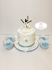 Frozen Custom Cake with Cupcakes