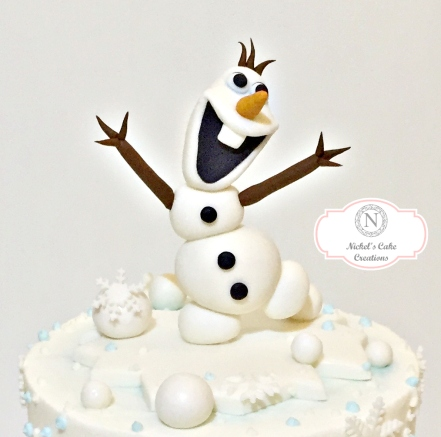 Olaf on Frozen Cake
